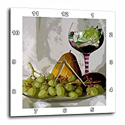 3dRose dpp_47919_1 Framed Wine Goblet with Fruit Painting Wall Clock, 10 by 10-Inch