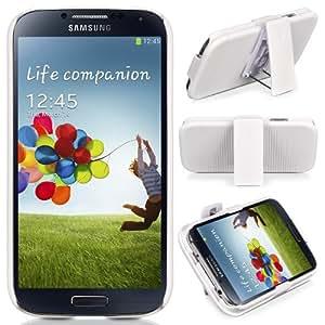 Donzo - Carcasas para Samsung Galaxy S4 GT-I9500 y GT-I9505 LTE blanco BACKCOVER mit CLIP