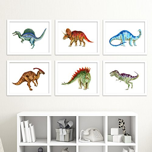 Dinosaur Nursery Art Print Set, Set of 6 Prints of Baby Dinos - Brontosaurus, Stegosaurus, Triceratops, T-Rex, Spinosaurus and - Customs Fees Usps
