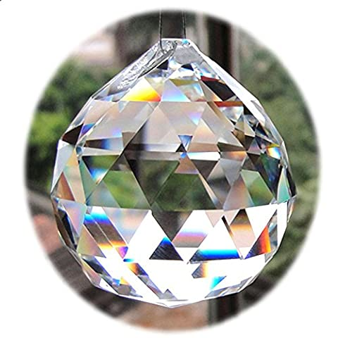 Clear 40mm Faceted Glass Crystal Ball Prism Chandelier Crystal Parts Hanging Pendant Lighting Ball Suncatcher Wedding Home (Crystal Prism Pendant)