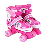 YANGXIAOYU Adult Beginners Children's Double Row Skates, Professional Roller Shoes, Anti-Collision Shock All Flash Wheel, Backpack + Helmet + Protective Gear, Blue Pink (Color : Pink, Size : 26-32)