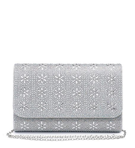 Bags Occasion M37 Ladies Womens Prom Silver Hand Dressy Shimmer Party Clutch Evening Diamante OfZ4a