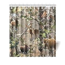 "Atnee Bird Bear Deer Elk Realtrees Real Tree Design Shower Curtain Standard Inch Size 66""(w) x 72""(h)"