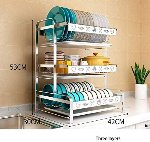 キッチンラック、皿ドレインラック収納ボックス、水フィルタバスケット、304ステンレス鋼 (Color : Three floors-A)