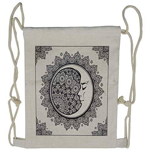 Ambesonne Zodiac Drawstring Backpack, Boho Star Moon Mandala, Sackpack Bag