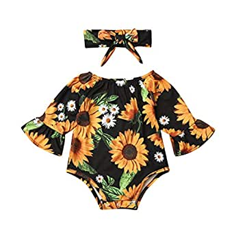 Newborn Baby Girl Floral Bodysuit+Headnband 2pcs Summer Flare Sleeve Fashion Jumpsuit 0-24Months (0-6 Months, Black+Sunflower)