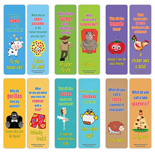 Creanoso Hilariously Silly and Funny Jokes Series 3 (60-Pack) - Six Assorted Quality Bookmarks Bulk Set - Teacher Incentive and Classroom Rewards Gifts - Unique Party Favors - Great Collection Pack