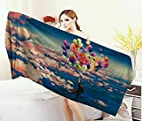Anniutwo Adventure,Bath Towel,Man Flying Colorful Balloons in The Sky on Clouds Miracle Paint Print,Bathroom Towels,Coral Blue Size: W 31.5'' x L 63''
