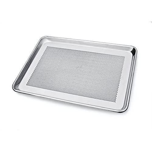 New Star Foodservice 36718 Commercial 18-Gauge Aluminum Sheet Pan, Perforated, 13 x 18 x 1 inch (Half Size)