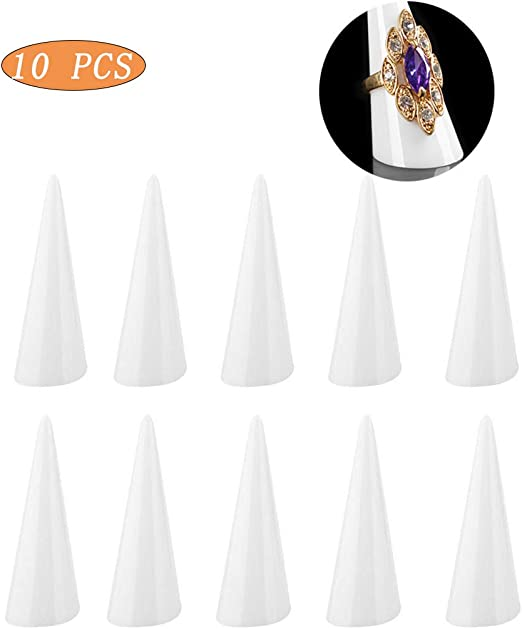 5Pcs Acrylic Finger Cone Model Ring Stand Rack Counter Top Jewelry Display Shelf