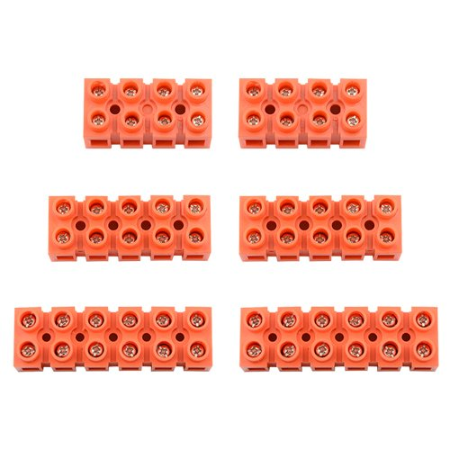XLX 6Pcs 600V 36A 4 Position 5 Position 6 Position Double Row Screw Terminal Block Environmental Friendly Flame Retardant Nylon Terminal Barrier Block Connector For All Wide Use(Red) ()