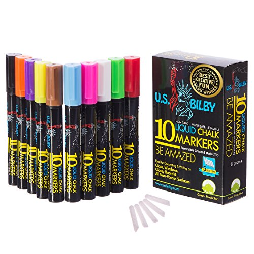U.S. Bilby Liquid Chalk Markers 10 Pack Professional Quality Erasable Pens 8 Grams (Double the Ink) 5 Extra Tips For Nonporous Chalkboards Bistro Menu Boards Glass Windows Mirrors Labels