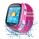 bhdlovely Kids Smartwatch Waterproof, GPS Tracker Phone Watch for Children Girls Boys with SOS Call Flashlight Camera Touch Screen Game Smart Watch Compatible for iOS and Android (Pink)