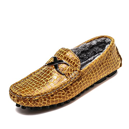 shoes Texture Alligator opzionale Mocassini Metallo uomo 43 caldo Faux Mocassini Casual Brown Warm fibbia da Dimensione EU Dress Color Business Xiazhi dpqYAxXwd