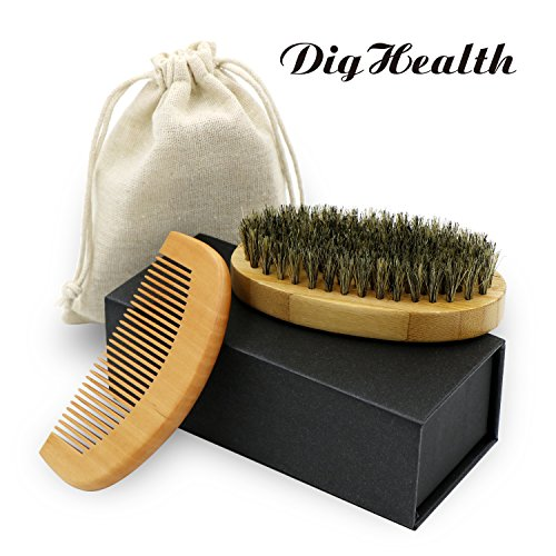 - DigHealth Beard Brush Kit with Wooden Comb-Natural Boar Bristle Beard Brush Set for Shaping, Grooming & Styling, with Gift Box and Carrying Cotton Bag