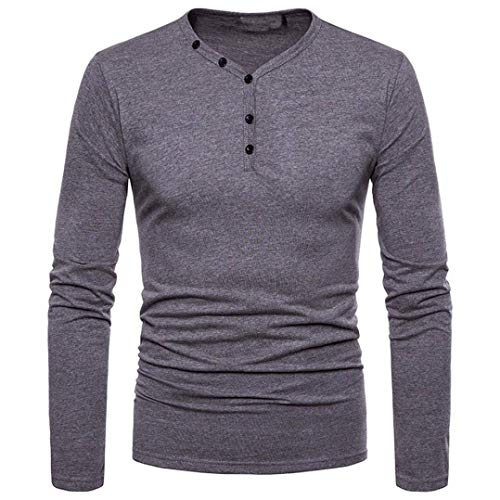 - Easytoy Men's Long-Sleeve Beefy Henley Thermal 3 Button T-Shirt (Gray, M)