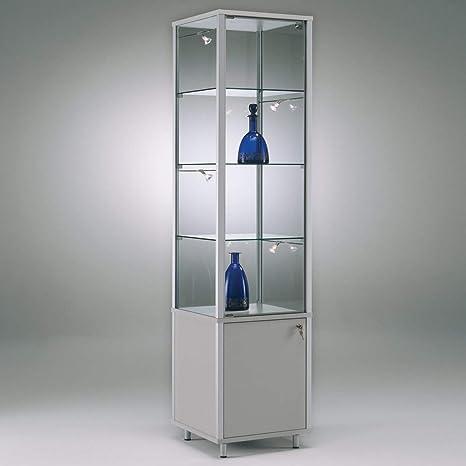 MHN - Vitrina de Cristal con Cerradura (Aluminio, con Ruedas, con Armario,
