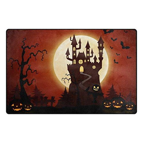 Cooper girl Halloween Castle Pumpkin Decorative Area Rug Mat Cover Carpet 31x20 for Indoor Outdoor Decor by Cooper girl