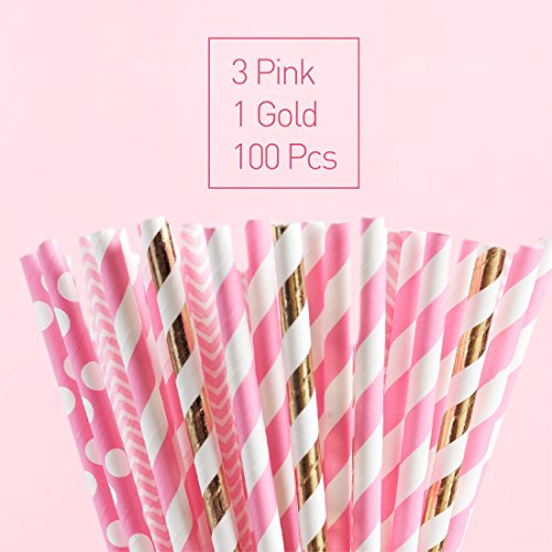 Buy pink paper straws biodegradable