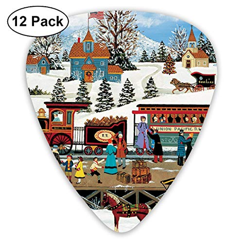 Vintage Christmas Train Country Camper Bendy Ultra Thin 0.46 Med 0.73 Thick 0.96mm 4 Pieces Each Base Prime Plastic Jazz Mandolin Bass Ukelele Guitar Pick Plectrum Display