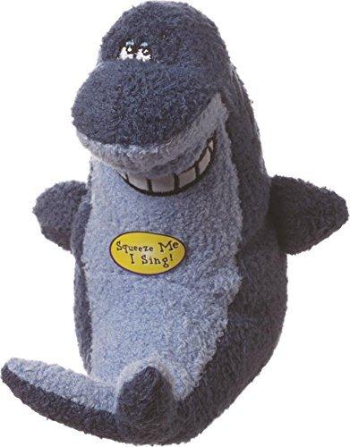 Deedle Dude Singing Shark Plush Dog Toy, 8-Inch, Blue