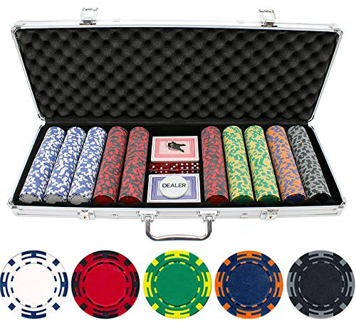 13.5g 500pc Z Striped Clay Poker Chip Set ()