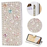 Stysen Galaxy S9 Wallet Case,Galaxy S9 Bling Flip Case,Luxury Premium Handmade 3D Jewelry Glitter Diamond Rhinestone Rose Flower Pearl Design Magnetic Closure PU Leather Shiny Sparkle Crystal Kickstand Folio Case with Card Slots Bookstyle Buckle Protective Skin Cover Case for Samsung Galaxy S9-Rose Flower Pearl