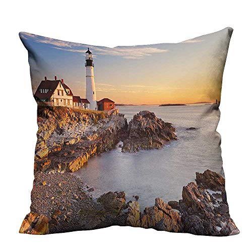 YouXianHome Decorative Throw Pillow Case Cape Elizabeth Maine River Portland Lighthouse Sunrise USA Coast Scenery Light Blue Tan Ideal Decoration(Double-Sided Printing) 27.5x27.5 inch