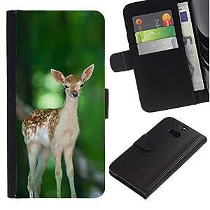LECELL--Cuero de la tarjeta la carpeta del tirón Smartphone Slots Protección Holder For HTC One M8 -- Feliz lindo del cervatillo de los ciervos --
