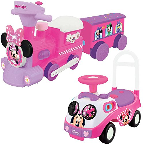 [Kiddieland Disney Minnie Mouse Music and Lights Ride On Toys 2-Piece Bundle - My First Push and Battery Powered] (Doc Mcstuffins Costume Toys R Us)