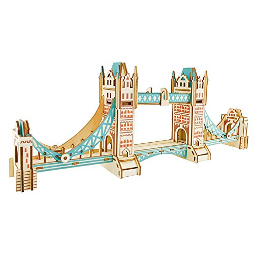 (Dlong Laser Cut 3D DIY Assembly Wood Construction Jigsaw Puzzle Handmade Educational Woodcraft Set Wooden Model Kit Toy for Kids and Adult (Londonbridge))