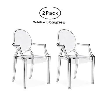 Songtree - (2 x Pack) Sillas Transparentes Material Policarbonato Super Durable Buen Diseño Elegante Modernas con Reposabrazos