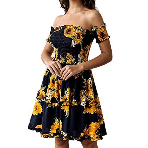 RAINED-Women's Boho Printed Sundress Spring and Summer Fashion Casual Sunflower Female Dress Beach Mini Swing Dress Black