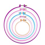 Buytra 5 Pack Plastic Embroidery Hoop Ring Cross Stitch Hoop Quilting Embroidery Circle Set for DIY Art Craft,Random Color,5 Different Sizes