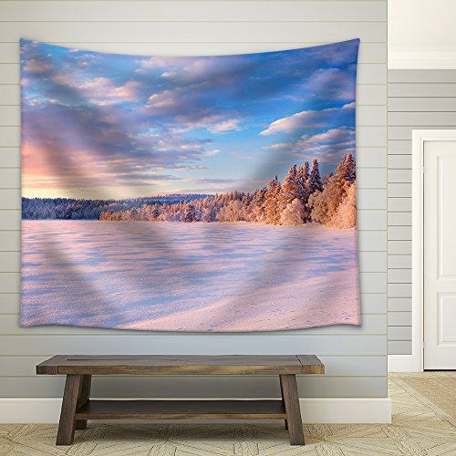 a Beautiful Lake in Finnish Lapland in Winter Photographed at ã Ijã¤Jã¤Rvi at Sunset Fabric Wall Tapestry