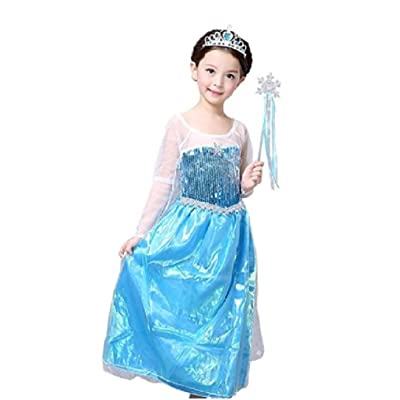 Peachi Little Girl Princess Costume Dress Inspired Frozen Queen Elsa for Halloween Cosplay Party 4-12Y (10/11-XXL): Clothing