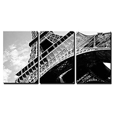 Fascinating Craft, Detailed Bottom View of Eiffel Tower Paris Black and White Image x3 Panels, Made With Top Quality