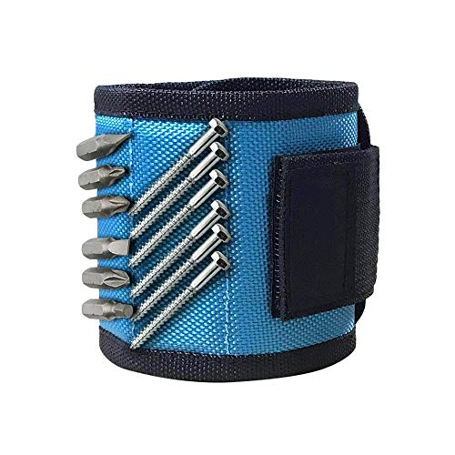 (Magnetic Wristband Pocket Tool and Screw Holder Strong Magnetic Wristband for Holding Small Tools, Screws, Nails Perfect for Men/DIY Handyman - Shipped from USA!!! (Sky Blue))