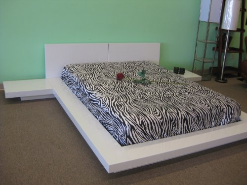 Bedroom Fujian Modern Platform Bed 2 Night Stands Queen (Glossy White) modern beds and bed frames
