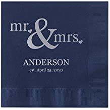 Mr & Mrs Hearts Personalized Beverage Cocktail Napkins - 100 Custom Printed Navy Blue Paper Napkins with choice of foil