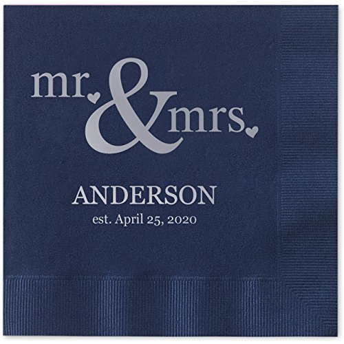 Canopy Street Mr & Mrs Hearts Personalized Beverage Cocktail Napkins - 100 Custom Printed Navy Blue Paper Napkins with choice of foil by Canopy Street