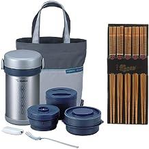Zojirushi SL-NCE09 Ms. Bento Stainless-Steel Vacuum Lunch Jar + Silk Wrapped Chopsticks (5 Pairs)