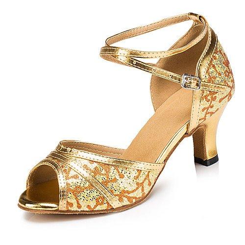 T.T-Q Frauen Ballroom Dance Schuhe Gold Silber Kunstleder Funkelnden Glitter Golden Latin Sandalen Salsa Jazz Tango Swing Praxis Indoor-Performance  37|Golden