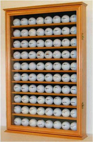 Oak Wall Shadow Box Display Cabinet To Hol 80 Golf Balls Glass Door by Display Case