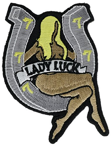 (Lady Luck Horseshoe Blonde Nose Art Iker Embroidered Patch 3