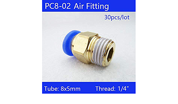 10mm to 1//4 Pneumatic Connectors Male Straight one-Touch Fittings Ochoos 30pcs BSPT PC10-02
