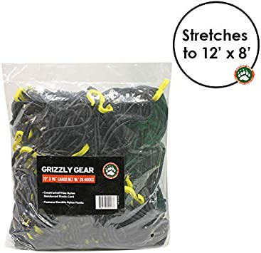 All Purpose Weather Proof and Compatible with All Truck Beds Stretches to 60 x 90 Grizzly Gear Large Cargo net with 16 Durable Nylon Hooks 36 x 60