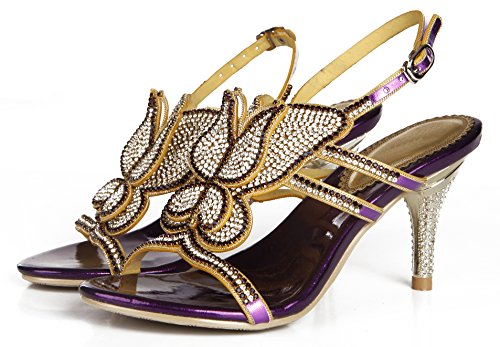 Butterfly Pattern Sandals Women Party Purple Wedding Heel Strapy Pump Honeystore Mid Bling Crystal shoes pxZB5WqCw
