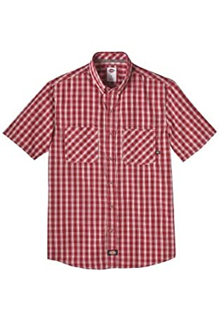 Dickies WS516 Short Sleeve Plaid Button Down Shirt (Crown/Spruce;X-Large)