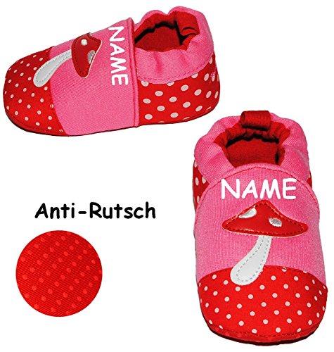 """Krabbelschuhe / Lauflernschuh - """" Pilz """" - incl. Name - Größe: 1,5 Jahre bis 2 Jahre - Anti Rutsch Sohle - SUPER leicht anzuziehen - 100 % Baumwolle - Babyschuhe - Füßlinge - Baby - Kinder / Mädchen -"""